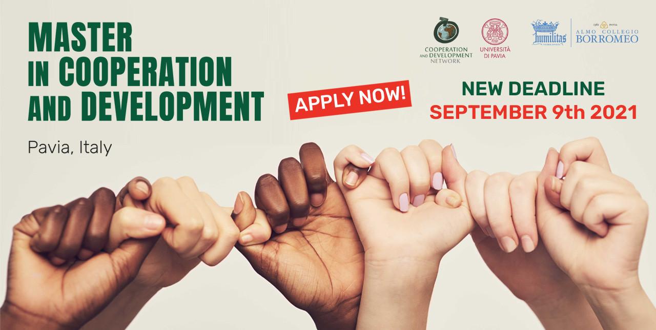 Iscrizioni prorogate al 9 settembre per il Master in Cooperazione e Sviluppo di Pavia
